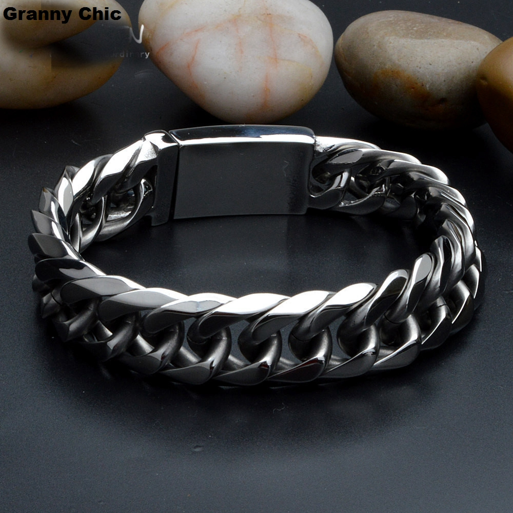Granny Chic Birthday Gift for Mens Silver Stainless Steel High Quality Curb Chain Heavy Wide Bracelet 14mm 8.66 fire granny 2018 11 20t20 00