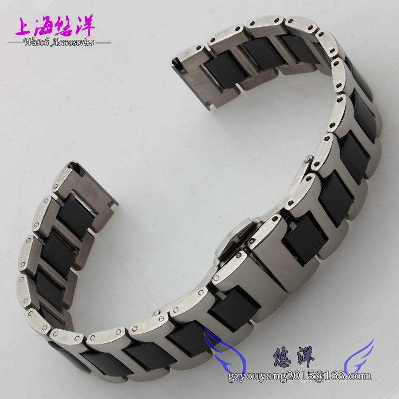 16mm 18mm 20mm ceramic and stainless steel watchband white or black watch band watch strap Butterfly