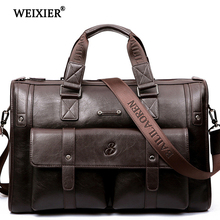WEIXIER 2019 New Vintage Luxury PU Leather Business Mens Briefcase Male Shoulder Bags Messenger Brand Design Handbag