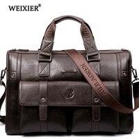7410da01b93 WEIXIER 2019 New Vintage Luxury PU Leather Business Men S Briefcase Male  Shoulder Bags Men S