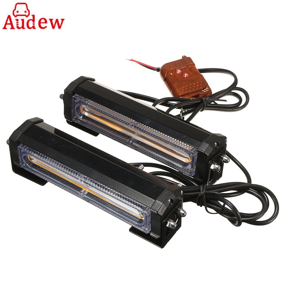 2Pcs Amber COB Car Vehicle LED Emergency Warning Lamp Security Flashing Strobe Light Bars w/ Remote Control 12V