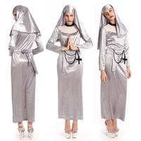 Scary Terror Ghost Nun Costume Halloween Adult Cosplay Dress Fancy Dress SM89251