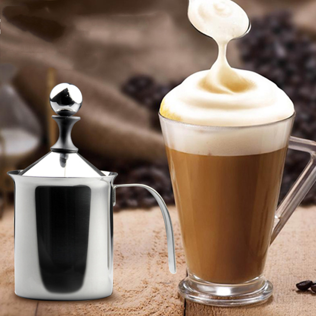 Top Stainless Steel Pump Milk Frother Creamer Foam Cappuccino 400ML 800ML Coffee Double Mesh Froth Screen