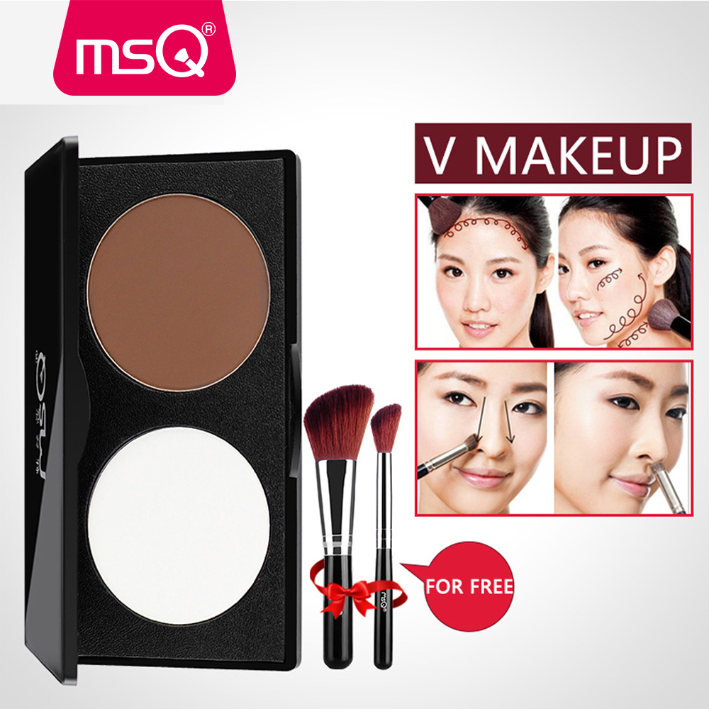 MSQ Pro 2 Color Face Shading Pressed Powder Contour Bronzer markeerstift Palet Set Trimmen Poeder Make-up Gezichtscontour