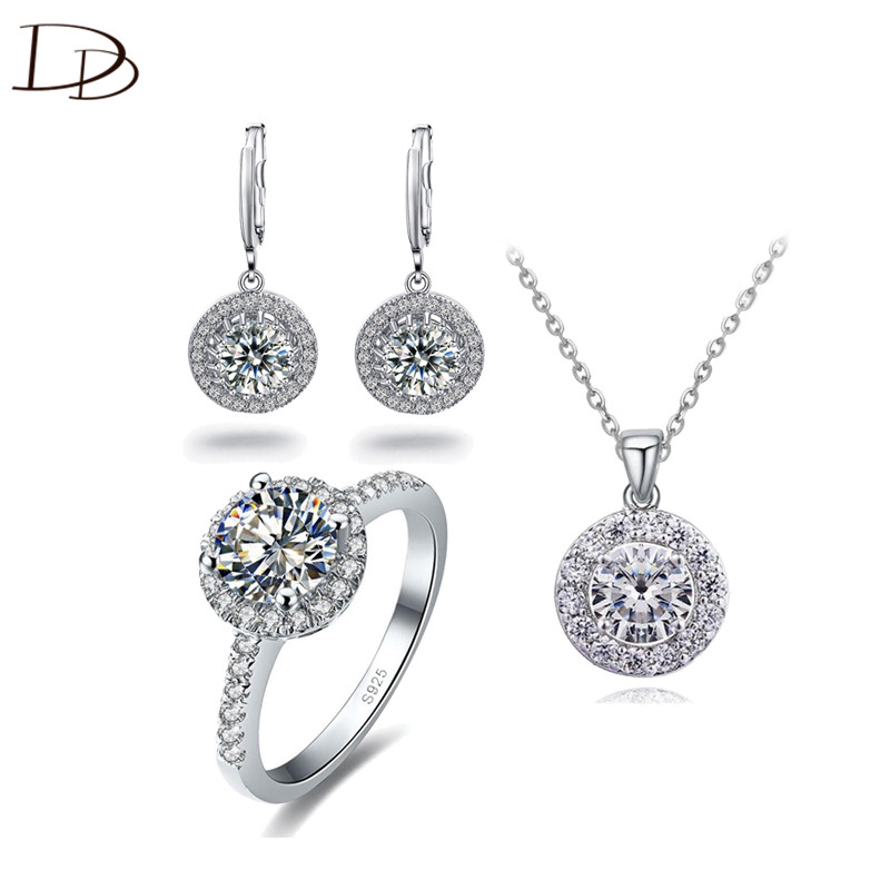 DODO 925 Sterling Silver Jewelry Set Round Clear Austrian Crystal Drop Earrings Ring Necklace Wedding Sets For Women Gifts JS025