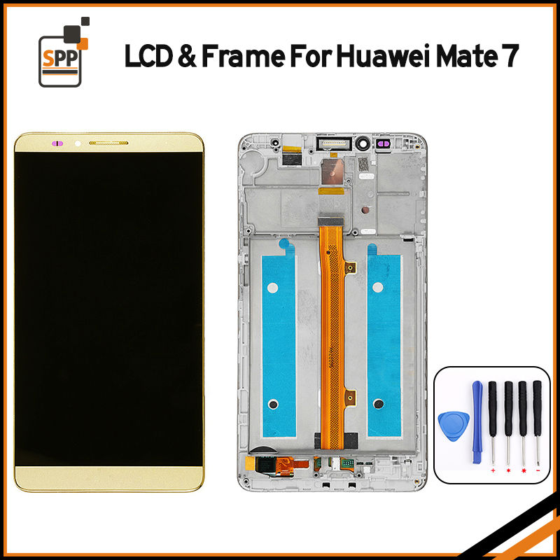 For Huawei mate 7 mate 8 LCD display touch screen digitizer glass full assembly with frame gold black white+tools+film 6 6 0 lcd display digitizer touch screen with frame for huawei ascend mate 7 mt7 white black gold free shipping