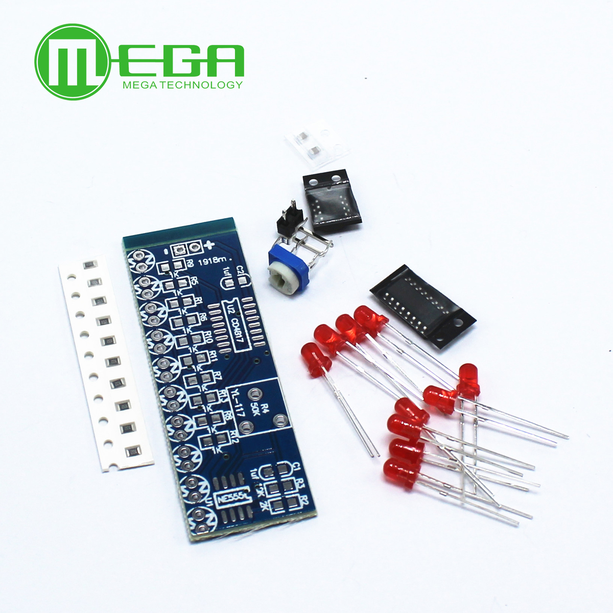 Ne555 Cd4017 Running Led Flow Light Electronic Production Suite Board Diy Kit Module Capacitor Control Oscillator Clock Siganal Electronic Components & Supplies