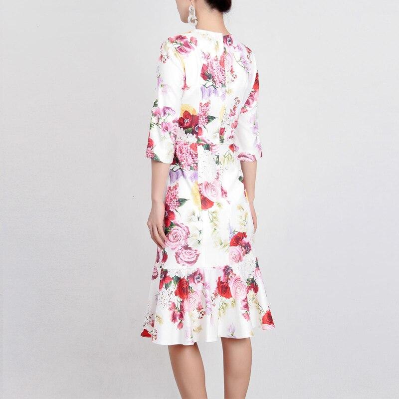 Femmes Roosarosee Sexy Mince Sirène De Printemps Été Appliques longueur Floral Designer Nouveau Imprimer Rouge 2019 Multi Robe Élégant Genou FxC1nq1w
