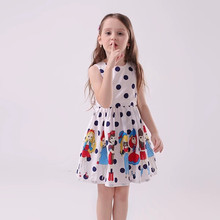 Summer Kids Dresses for Girls Princess Dress children Cartoon Polka dot print Girls Clothes Sleeveless 3 4 5 6 7 8-14Years Old цены