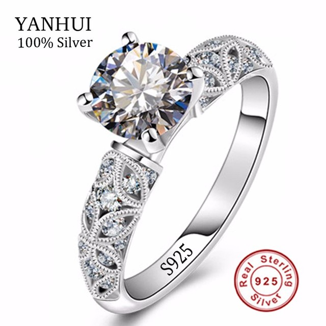 Unique Pattern Rings For Women Real 925 Silver Wedding Rings Jewelry Inlay 1 Carat Sona CZ Diamond Silver Engagement Ring JZR150