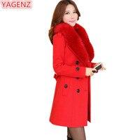YAGENZ Fashion Women Woolen Jacket Long Section Winter Women S Clothing Red Coat Large Size Fur
