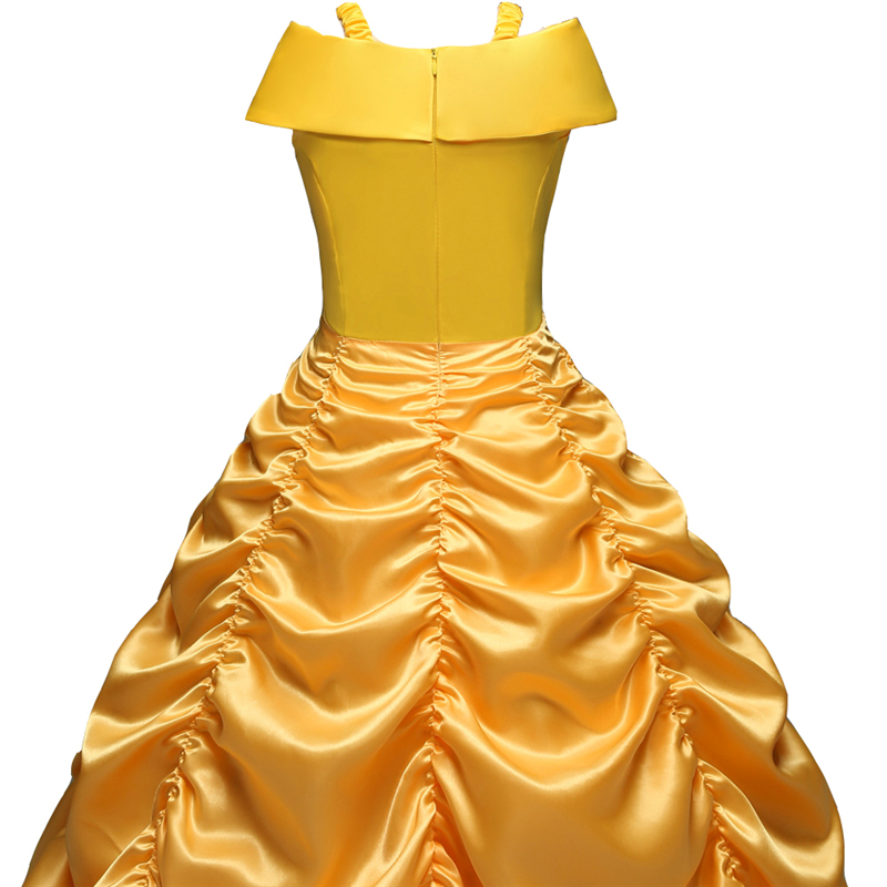 DAYLEBABY Princess Belle Off Shoulder Layered Costume Dress for Little Girl Halloween Costume Fancy Dress with Accessories in Dresses from Mother Kids