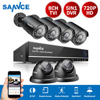SANNCE New 8CH 4 In 1 TVI DVR 6 PCS 1200TVL IR Weatherproof Outdoor Video Surveillance