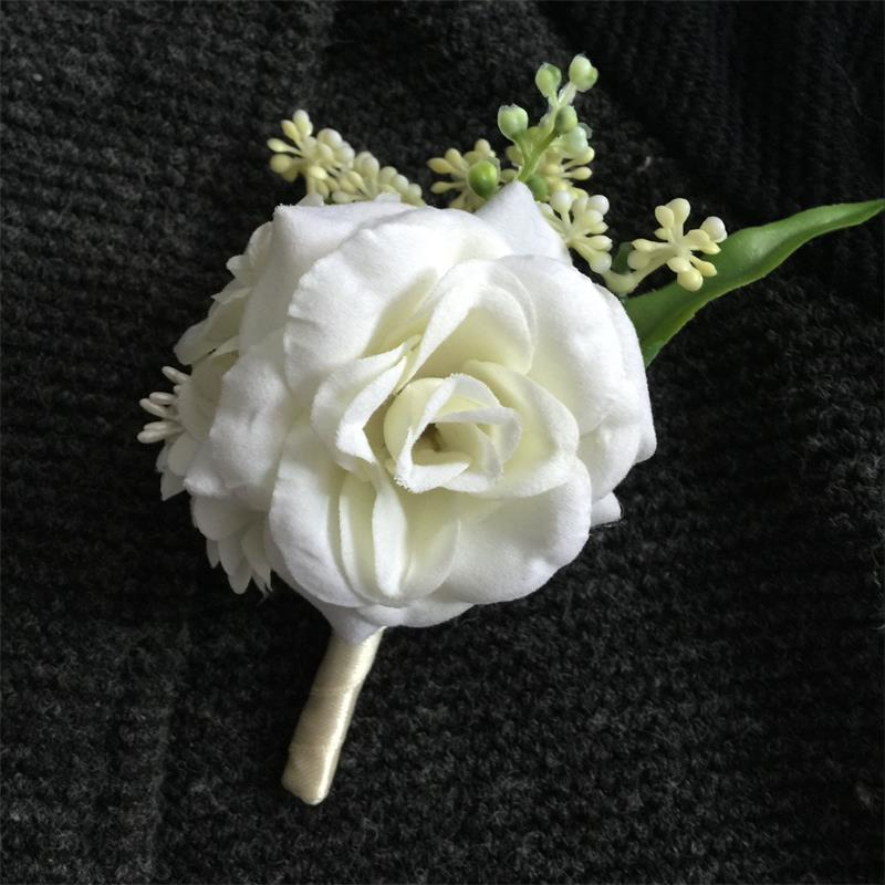 Wedding Flowers Men: 1 Pieces/package DIY Groom Boutonniere Men Corsage Prom