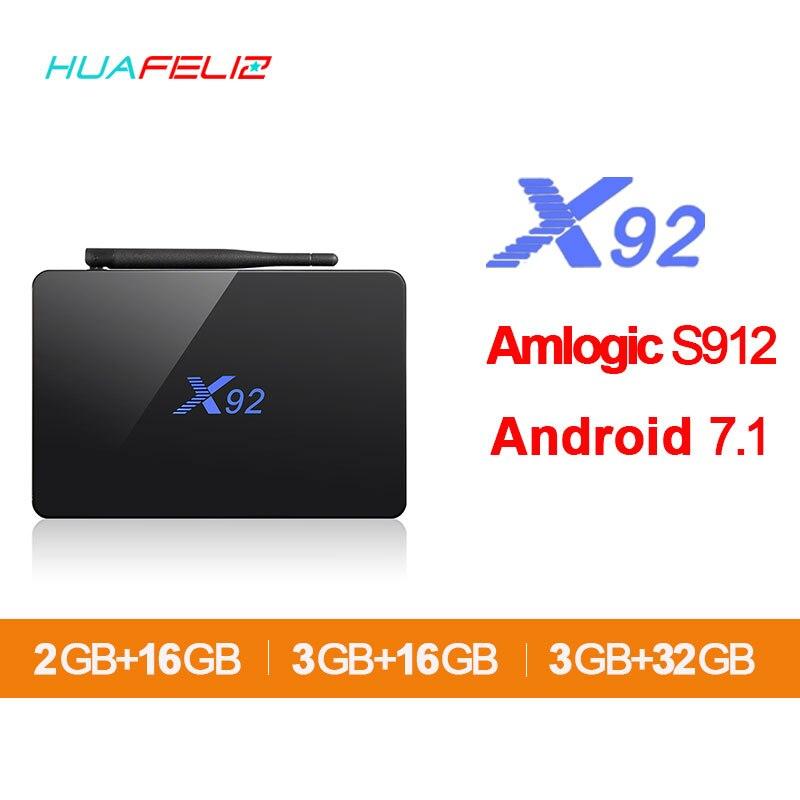 X92 Amlogic S912 Smart TV Box Android 7.1 4K WIFI Media Player Octa-core HDMI 2.0 3G 32G BT Set-top Box And mini keyboard