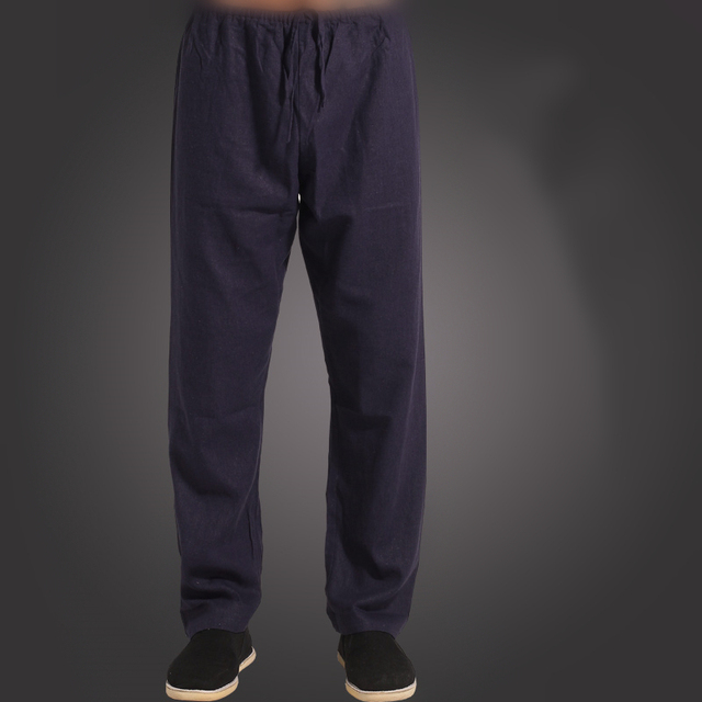 199ea47f9df2 Nuovi uomini Neri Pantaloni Blu Tradizionale Cinese Kung Fu Pantaloni di  Cotone Pantaloni di Lino Wu