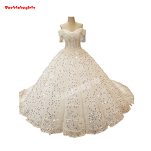 34440 Real Picture Crystal Ball Gown Wedding Dress Train