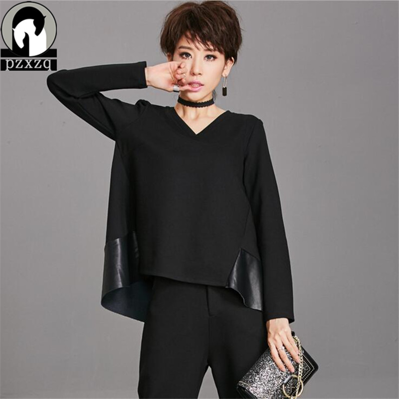 Spring spring Women T shirt Black Leather Stitching Fashion Long Sleeve T Shirt Tops Lady Boat Neck Loose V neck Sexy Tee Shirts