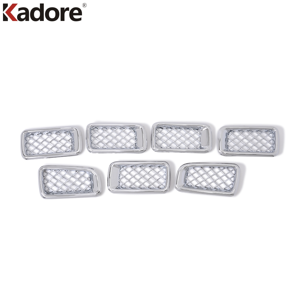 Car Front Center Grilles Covers Trim Radiator Racing Grill Decorative Frames For Jeep Compass 2011 2012 2013 2014 2015 7Pcs 2011 2015 for jeep compass front