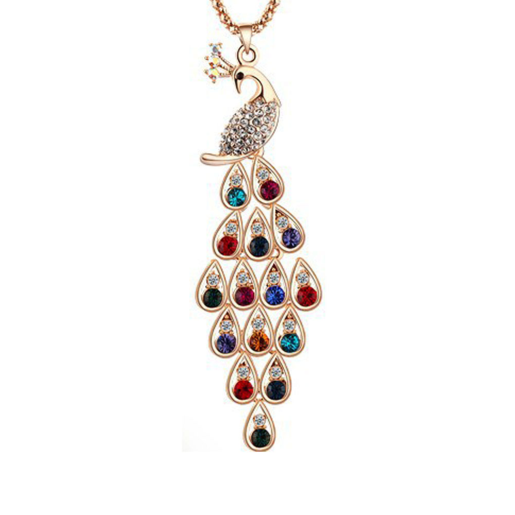 Fashion Gold Rhinestone Peacock Pendant Necklace Sweater Chain Necklace For Women Fine Jewelry Gift CX17