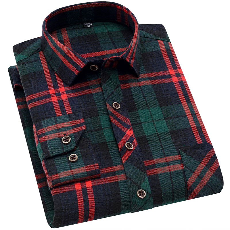 2020 New Spring Autumn Flannel Men Plaid Shirt Long Sleeve Men's Warm Casual Shirts British Cotton Mens Check Shirt Casual