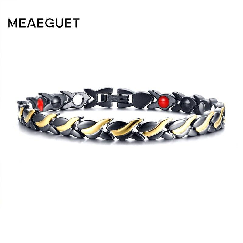 dde1126c8c5 Meaeguet Black   Gold Aço Inoxidável Pulseira 4 Elementos de Saúde Germânio  íon Negativo Terapia Biomagnético