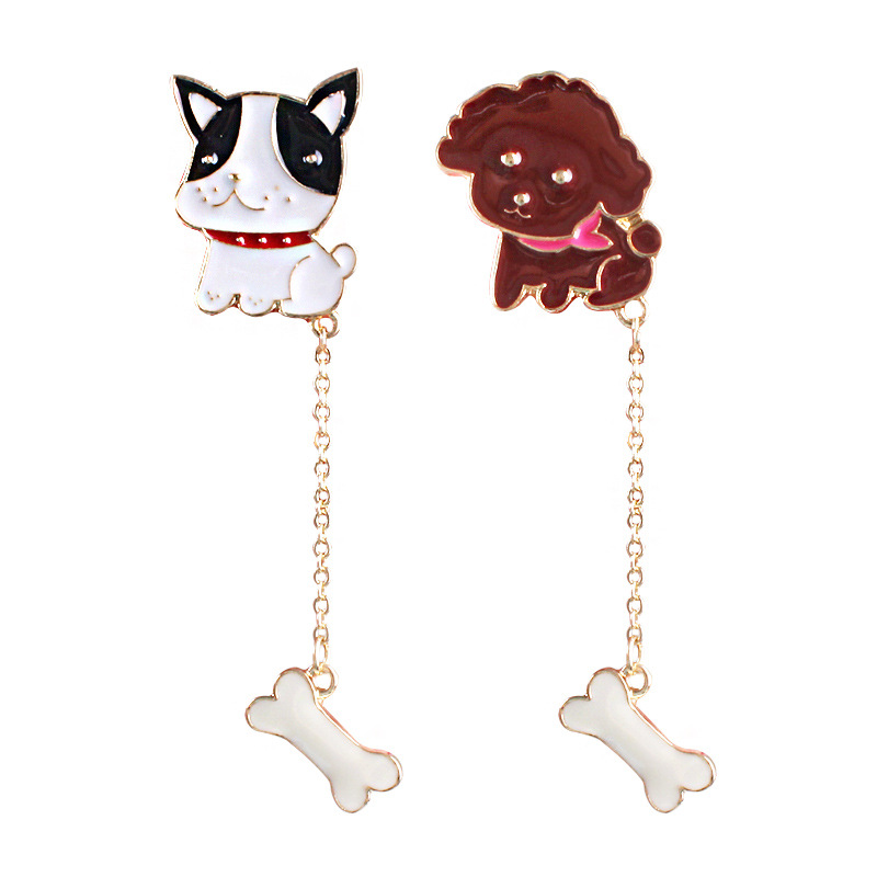 Daisies New Style Charming Lovely French Bulldog Enamel Bone Dog Brooch Gold-Color Chain for Women Fashion Jewelry Accessories