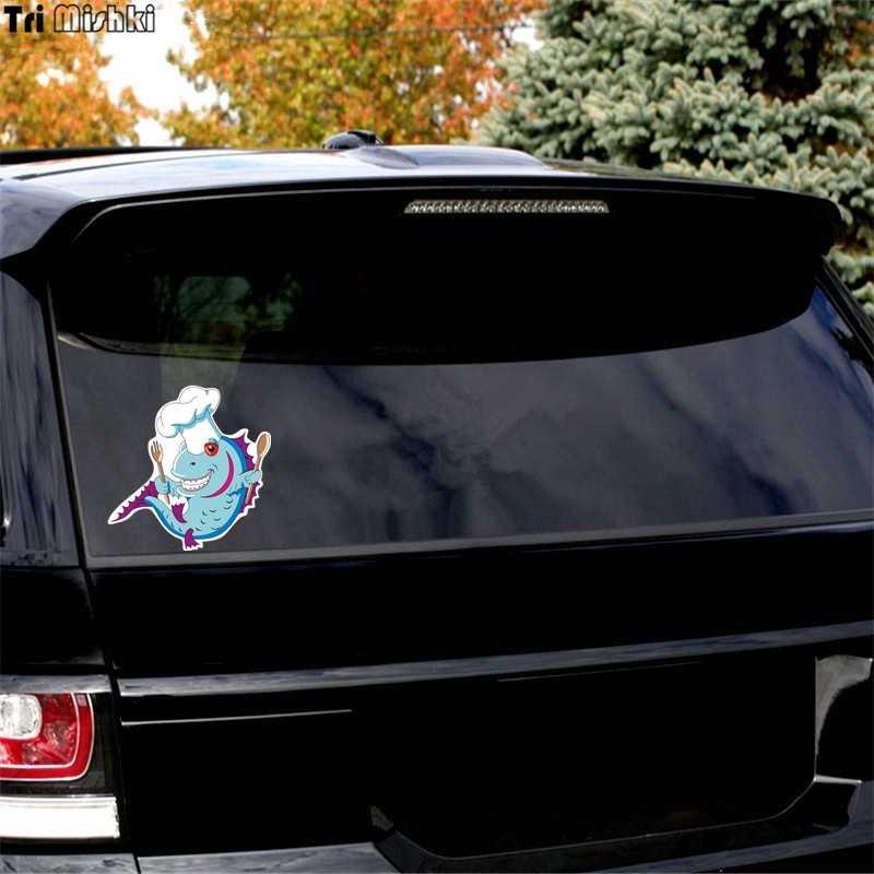 トライ Mishki WCS223 14.2 × 14 センチメートル青魚シェフスプーンとフォーク車のステッカーおかしいなカーステッカーオート自動車デカール