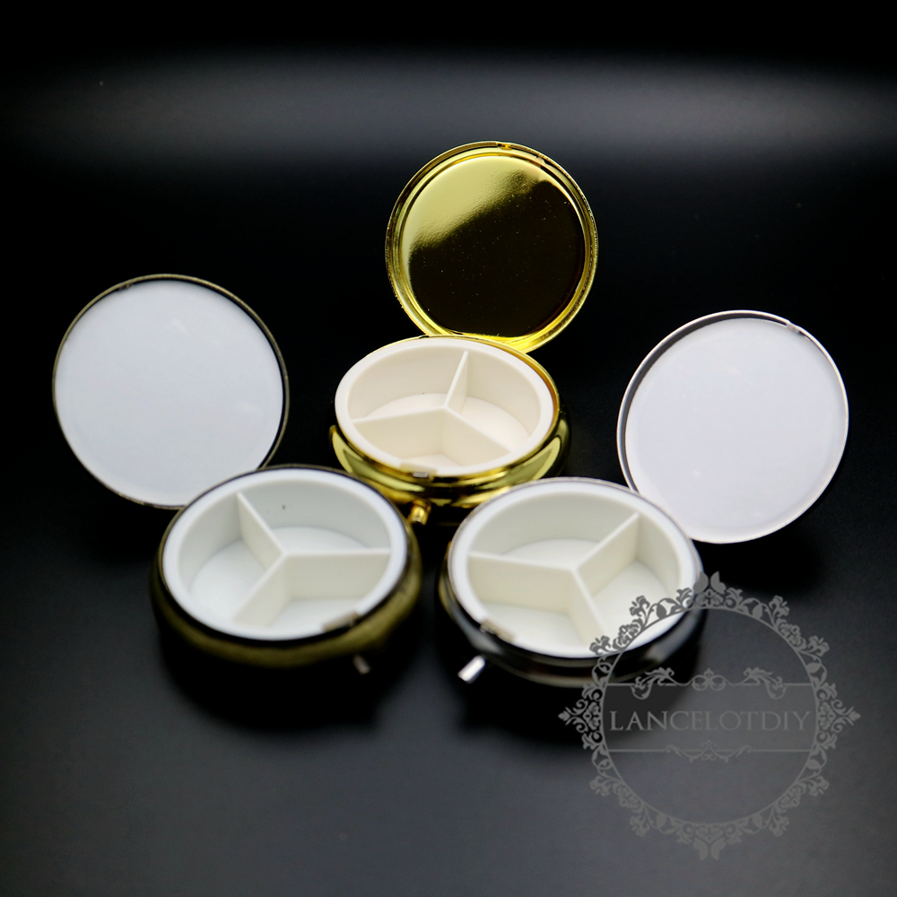 40mm Setting Size Vintage Style Bronze,silver,gold Round With 3 Cells Medicine Box DIY Supplies 1502048