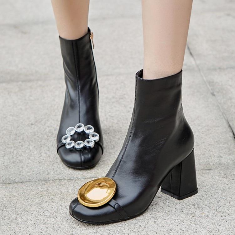 2019 г. Новые Модные женские ботильоны обувь со стразами кожаные ботинки на Высоком толстом каблуке женские зимние ботинки, большие размеры