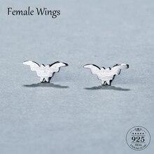 Female Wings Cute Real 925 Sterling Silver Bat Stud Earrings Trendy Minimalist For Charm Women Jewelry Accessories Fashion FE095 недорого