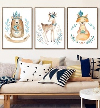 Nordic Cartoon Elk Fox Bear Posters and Prints Watercolor Cute Animals Canvas Painting Wall Pictures for Kids Room Decoration