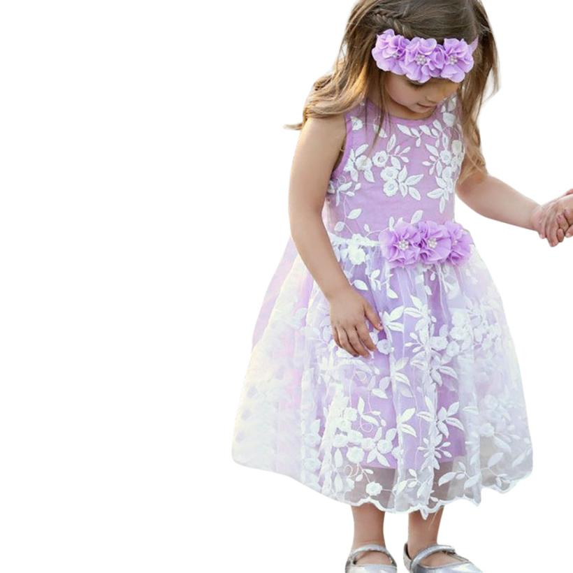 Girls Dress Casual Tulle Sleeveless Ball Gown Dresses BabyGirls Floral Embroidery Princess Dress for Daily Cute 18Apr4