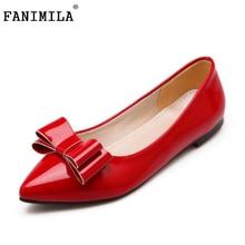 Женщины Новые Балетки Обувь Женская Лакированная Кожа Сексуальная Бантом Острым Носом Леди Обувь Мода Удобная Обувь Размер 30-49