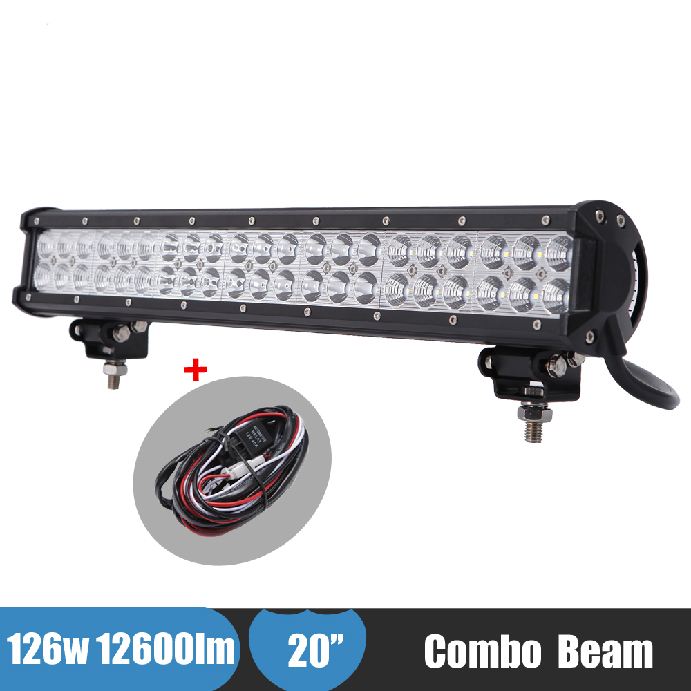 126W 20Inch LED Bumper Light Bar 12v 24v ATV SUV Truck Forklift Car 4x4 Offroad Driving Light for Ford F150 F250 Super duty F350