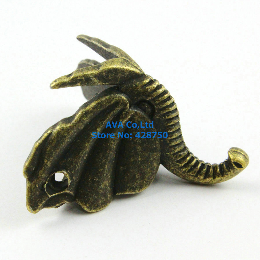4 Pieces Antique Brass Jewelry Box Feet Animal Box Leg 46x32mm