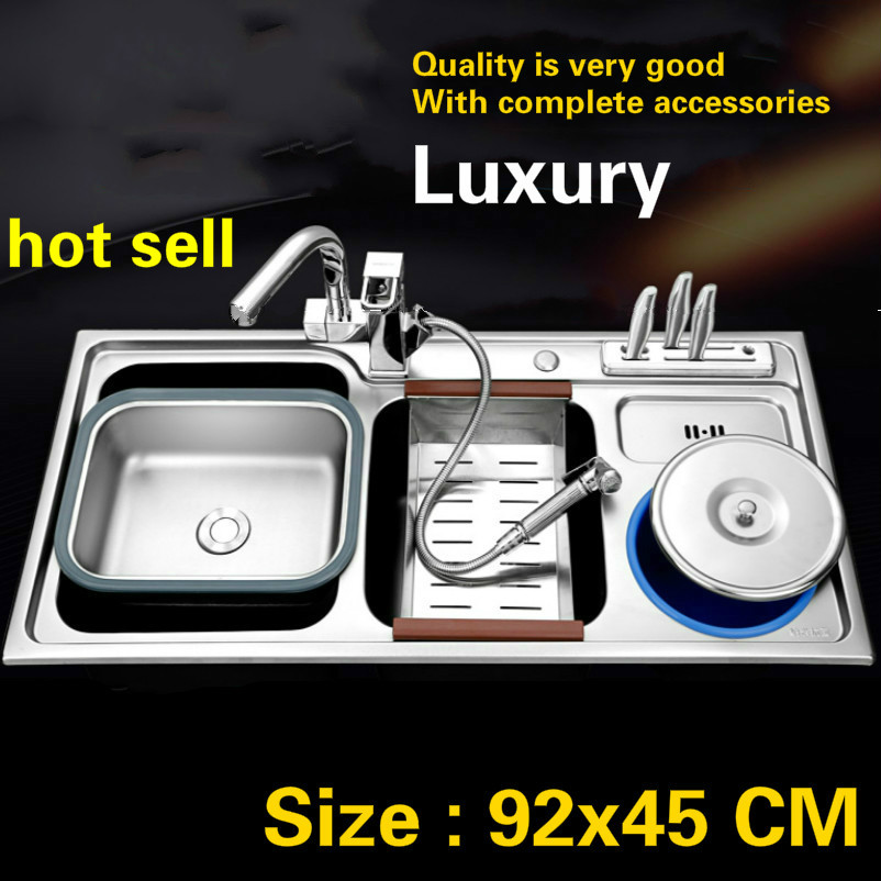 Free shipping Standard 304 food-grade stainless steel big kitchen double groove sink fashion hot sell 92x45 CMFree shipping Standard 304 food-grade stainless steel big kitchen double groove sink fashion hot sell 92x45 CM