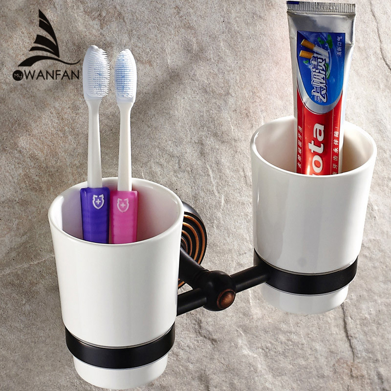 Cup & Tumbler Holders Black Antique Toothbrush Holder Wall Mounted Bathroom Hardware Sets Bath Product Double Cup Holder HJ-1203 yanjun double crystal cup tumbler holder brass wall mounted toothbrush cup holder bathroom accessories cup holder yj 8065 page 10