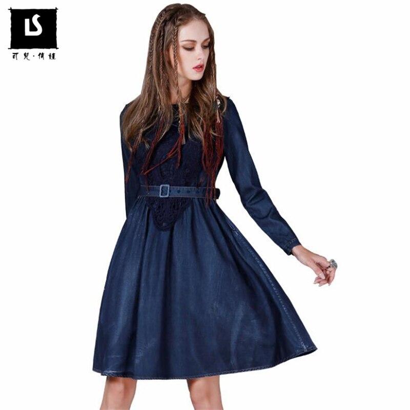 Printemps automne femmes doux Denim robe ceinture décontractée Slim Denim robes Vintage à manches longues une ligne élégante femmes grande taille vestidos