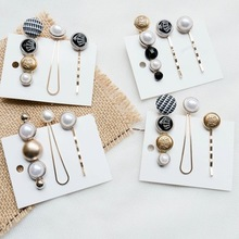 3pcs/set Sweet Japan and Korea style alloy Imitation Pearl Hairpin Combination suit  Lattice pattern Hair Pin Button Clip
