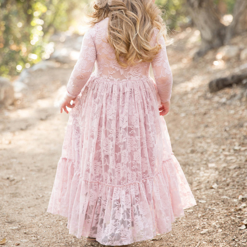 Rustic Lace Flower Girl Dress Kids Prom Wedding First Communion Party Belt Gowns