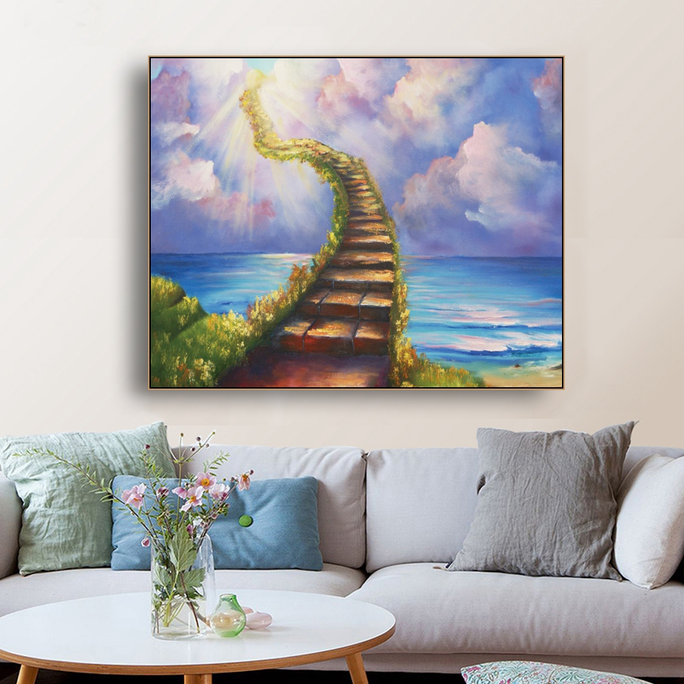 Abstract Scenery Canvas Painting Watercolor Sunshine The Road to Heaven Posters Prints Wall Art Pictures for Living Room Decor(China)