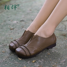 Fashion Autumn sheepskin leather women's shoes flat low heel comfortable vintage flat heel single shoes