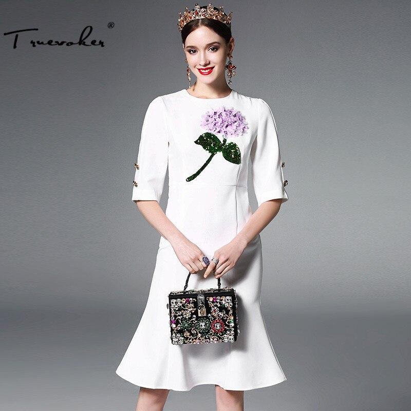 Truevoker Europe Designer Dress Womens Elegant Short Sleeve Flower Appliques Sequins Crystal Button Noble White Mermaid Dress