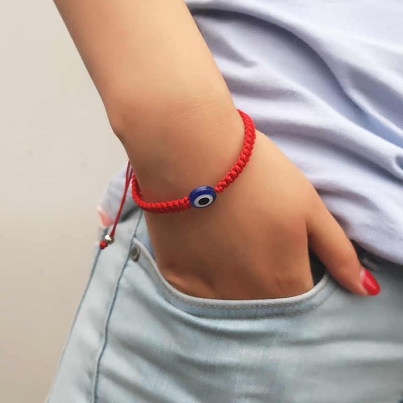 Rinhoo czerwony sznurek linowy szczęście zła przepaska na oko s dla kobiet Handmade niebieski przepaska na oko para przyjaźń biżuteria prezent