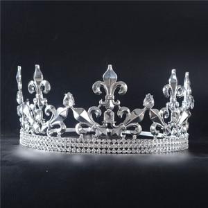 Image 2 - Adjustable Gorgeous Crystal Wedding Men Tiara Crown For Men Headpiece Rhinestone Hair Ornaments Wedding Head Jewelry Accessories