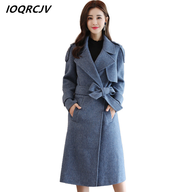 2018 New Blend Cashmere Alpaca Coats Female Overcoat Lapel Coat Women Coat Blend Woolen Coat Outerwear Casaco Winter S37