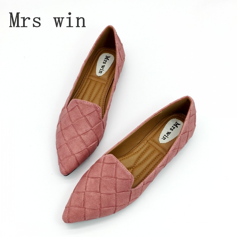 Vintage Weave Style Spring Autumn Women Casual Loafers Pointed Toe Slip On Flats For Woman Ladies Single Shoes Plus Size Gray summer slip ons 45 46 9 women shoes for dancing pointed toe flats ballet ladies loafers soft sole low top gold silver black pink