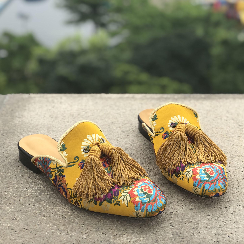 Mules men chinelos deslizamento on apartamentos borlas de seda sapatos casuais artesanais masculinos amarelo interior ao ar livre - 2