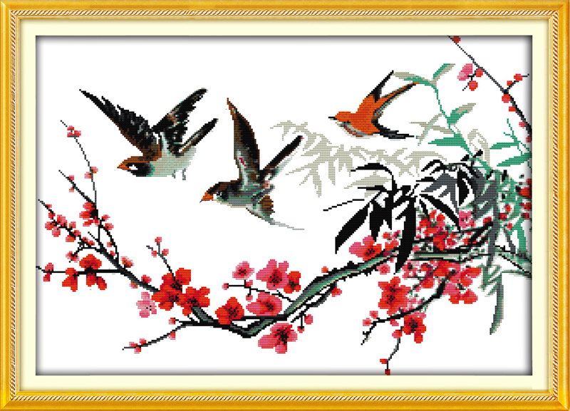 Joy Sunday The Birds with Branches Painting Counted or Printed 11CT 14CT Chinese Cross Stitch Kits Embroidery Needlework Sets